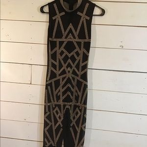 High Collar Black Sexy Beaded Mesh Jumpsuit Fringe